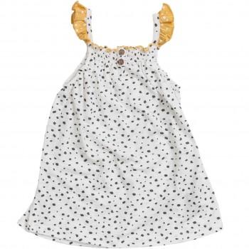 Slub Kleid Rüschen weiß