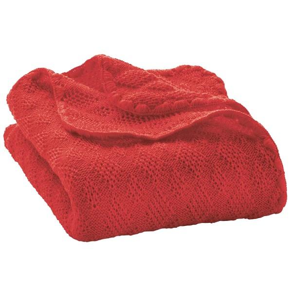 Leichte Babydecke Wolle Bio 80x100 cm rot
