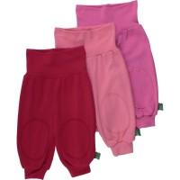 Bio Krabbelhose 3er Pack - soft - rot pink rosa