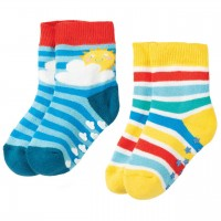 Stoppersocken 2er Pack Frottee Rainbow
