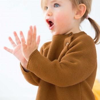 Warmer Strick Pullover uni karamell