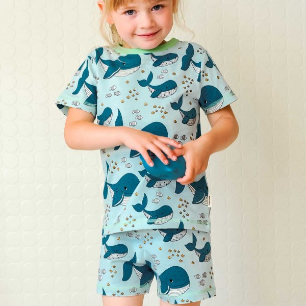 Kurzer Sommer Schlafanzug Wale blau