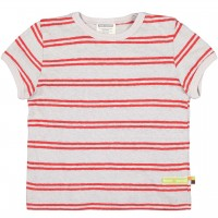 Leichtes Leinen Shirt kurzarm Streifen grau