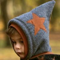 Schiefer-graue Woll Schlüpfmütze Sternen-Aufnäher
