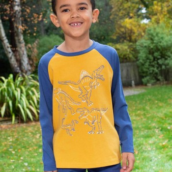 Langarmshirt mit Dinos in gelb
