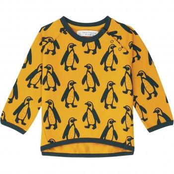 Baby  Sweater  mit  Pinguine  senf-gelb