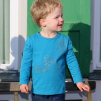 Bio Shirt langarm Stickerei Eule blau