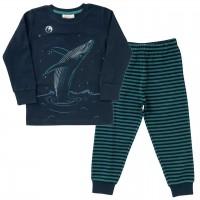 Jungen Schlafanzug Wal Ringel dunkelblau