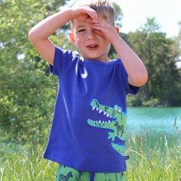 T-Shirt navy Krokodil Aufnäher