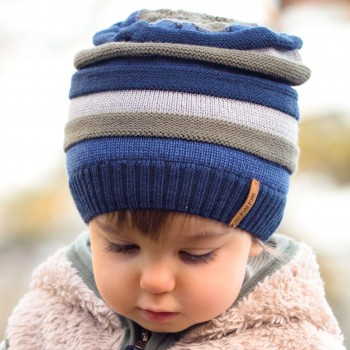 Kinder Strick Wintermütze marine