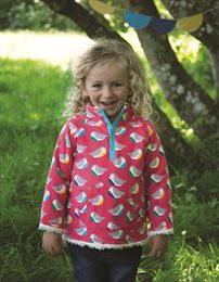 Wendepullover super warm Vogel pink