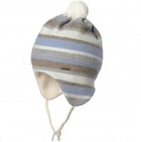Warme Bio Baby Wintermütze mit Bommel - ringel