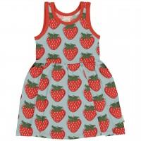 Sommerliches Flatterkleid Erdbeeren hellblau rot