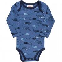 Bio Body langarm Wale Motivdruck in jeansblau
