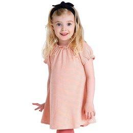 Edles Kleid gestreift pastell-pfirsich