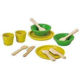 Holz Geschirr-Set, 10-teilig