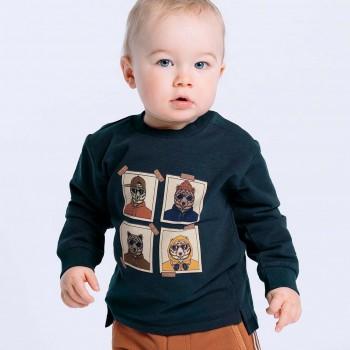 Sweatshirt langarm navy Bündchen