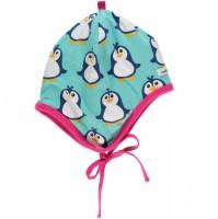 Warme Bio Babymütze innen aus warmen Velours Pinguin