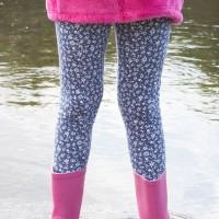 Bio Mädchen Leggings Blumen lila marine