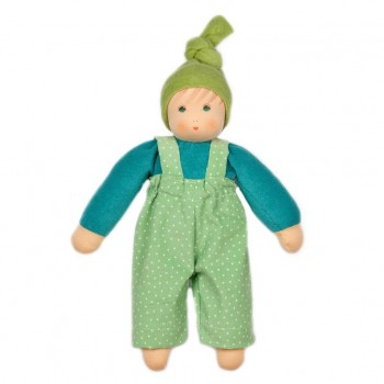Baby Stoffpuppe Jakob mit Latzhose ohne Haare 33 cm