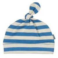 Babymütze soft mit Knoten blau gestreift