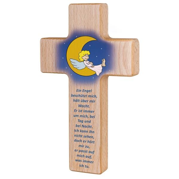 Holzkreuz mit Mond & Schutzengel zur Taufe