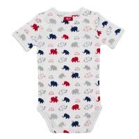 Vorschau: Baby Body people wear organic - weiß mit bunten Elefanten