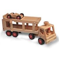 Autotransporter aus Echtholz + 1 Auto