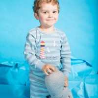 Pyjama Leuchtturm Streifen blau