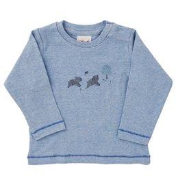 Blaues Langarmshirt babyblau Bärchen ganzjährig