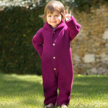 Woll Fleece Overall mitwachsend beere