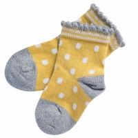 Babysocken leichter Strick Punkte senfgelb