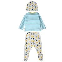 Vorschau: Süsses Baby Set aus Hose mit Fuss Shirt und Mütze