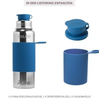 Vorschau: Grosse Pura Edelstahl Trinkflasche 800 ml marine
