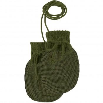 Baby Strickhandschuhe aus Schurwolle oliv-grün