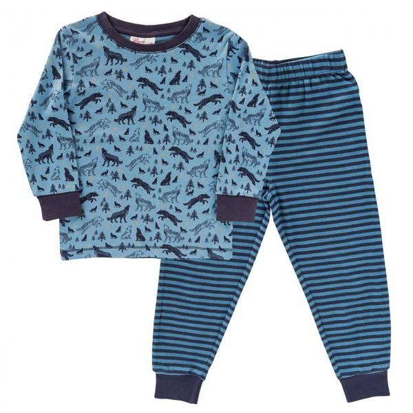 Schlafanzug blau Wölfe Ringel