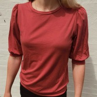 Lockeres Damen Shirt 3/4 Ärmel rostrot
