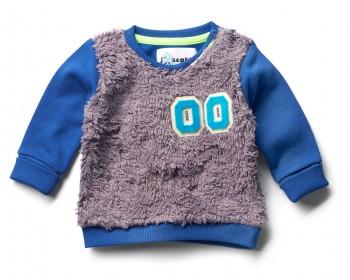Pullover mit Plüsch in dunkelblau