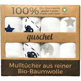 4er-Pack Mulltücher 65 x 65cm Autobahn/Sterne blau