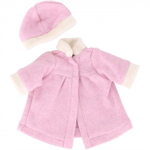 Puppenkleidung: Mantel und Mütze in rosa