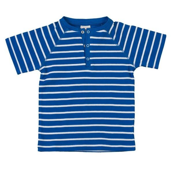 Jungen T-Shirt blau weiß Druckknpf