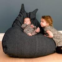 Kinder Sitzsack 90 x 100 x 80 cm - anthrazit