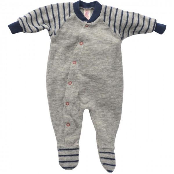 Frühchen Schlafanzug Frottee Strampler hellgrau