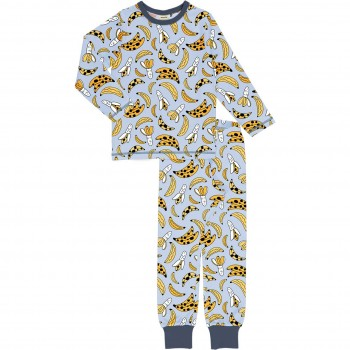 Bananen Schlafanzug langarm gelb-grau