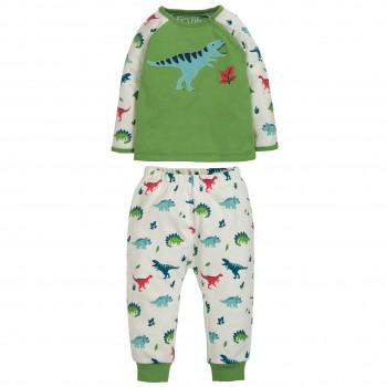 Warmer Schlafanzug Dinos grün