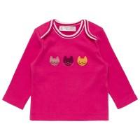 Bio Babyshirt pink Aufnäher Katze