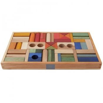 54 Regenbogen Bauklötze mit edler Holzbox