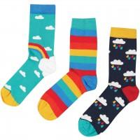 Kinder Bio Socken 3er Pack Wolken Regenbogen