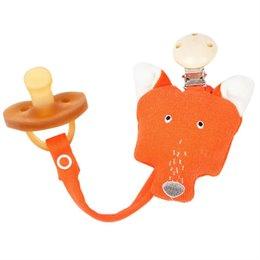 Schnullerband mit kuscheligem Fuchs orange