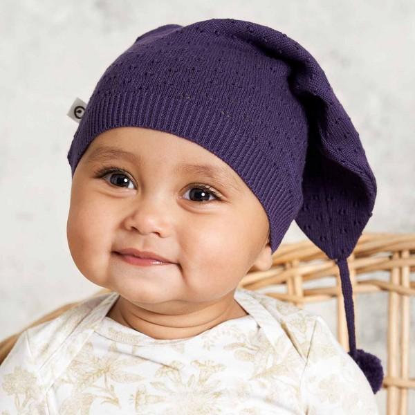 Hochwertige Baby Strickmütze lang in lila